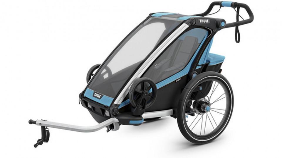 thule chariot sport 1 kinder fahrradanh nger blue die. Black Bedroom Furniture Sets. Home Design Ideas